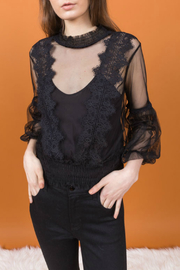 Allison Collection  Chiffon Lace Blouse w Cami - Product Mini Image