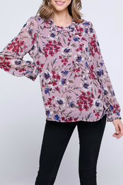 Allie Rose by Ember Chiffon Long Sleeve Floral Top - Product Mini Image