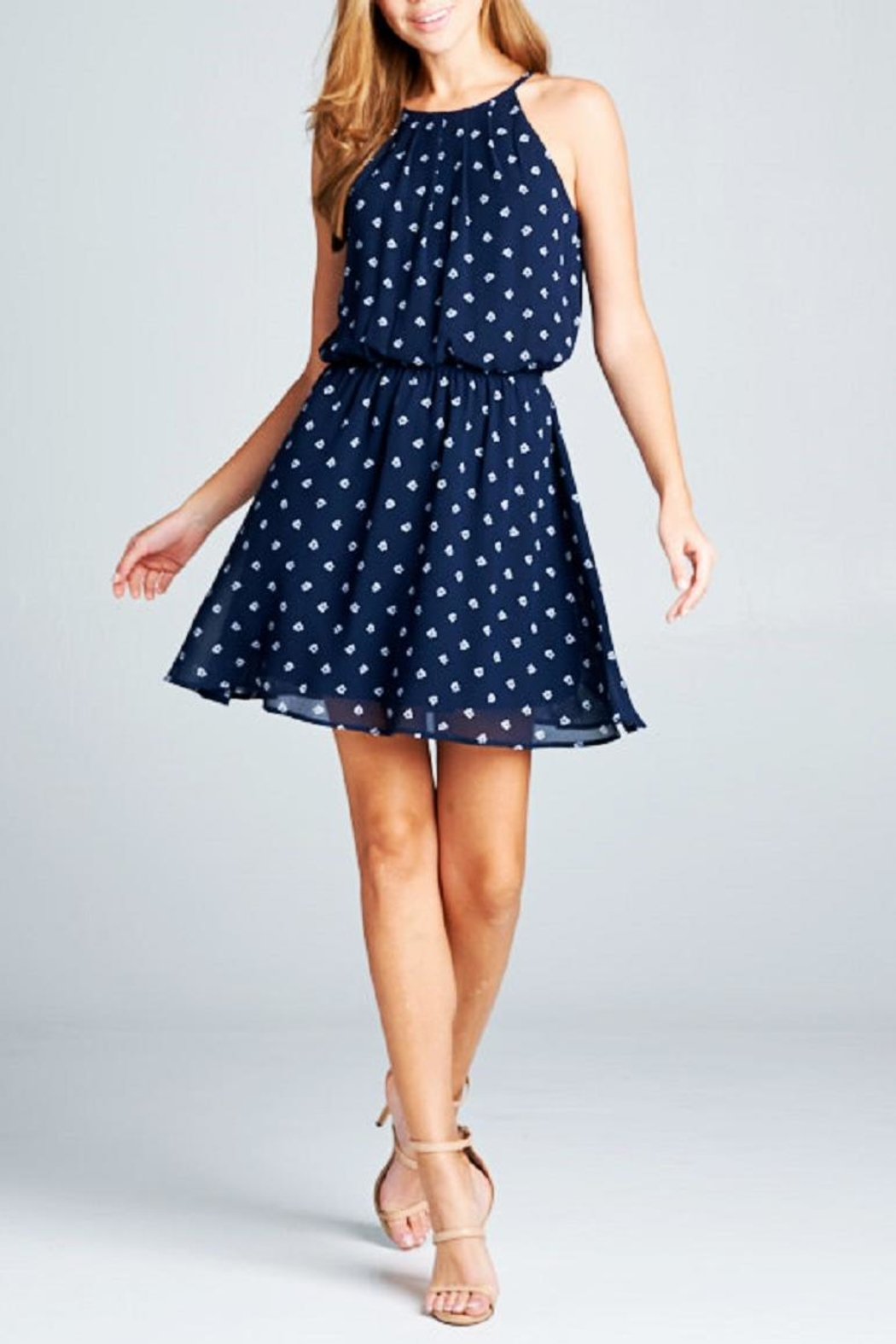 DNA Couture Chiffon Navy Dress - Main Image