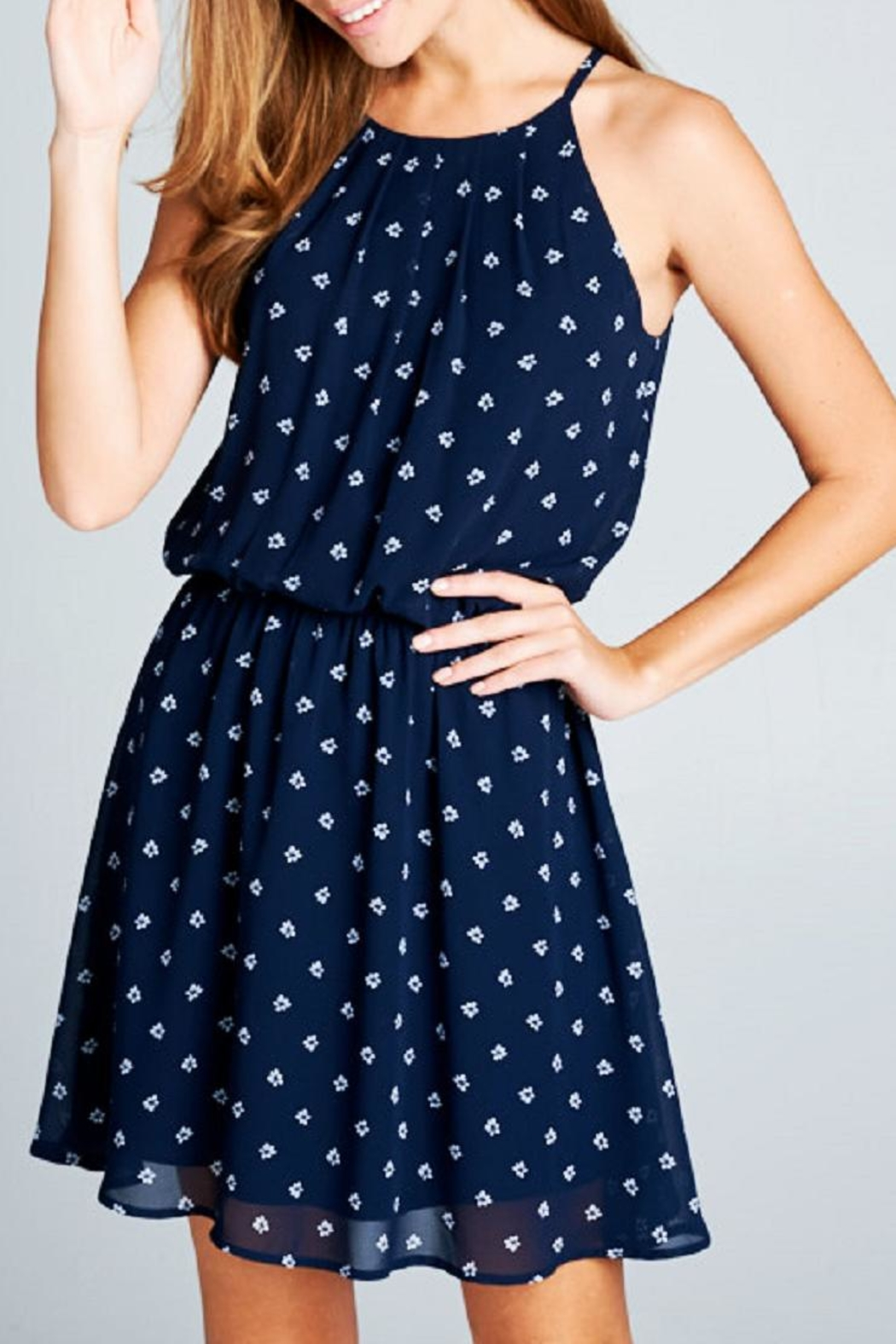 DNA Couture Chiffon Navy Dress - Front Full Image
