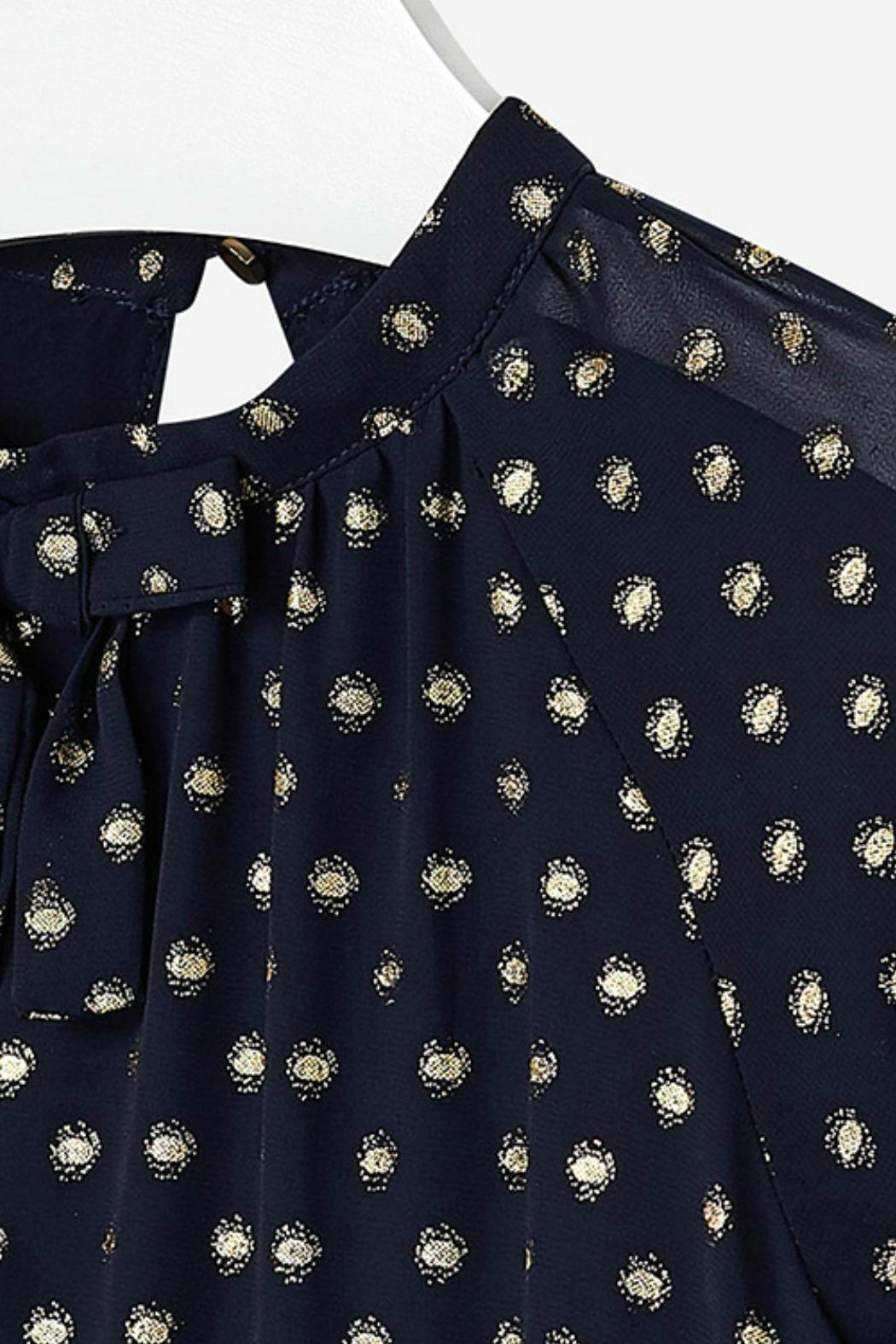 Mayoral Chiffon-Navy-Dress-With-Gold-Metallic-Dots - Front Full Image