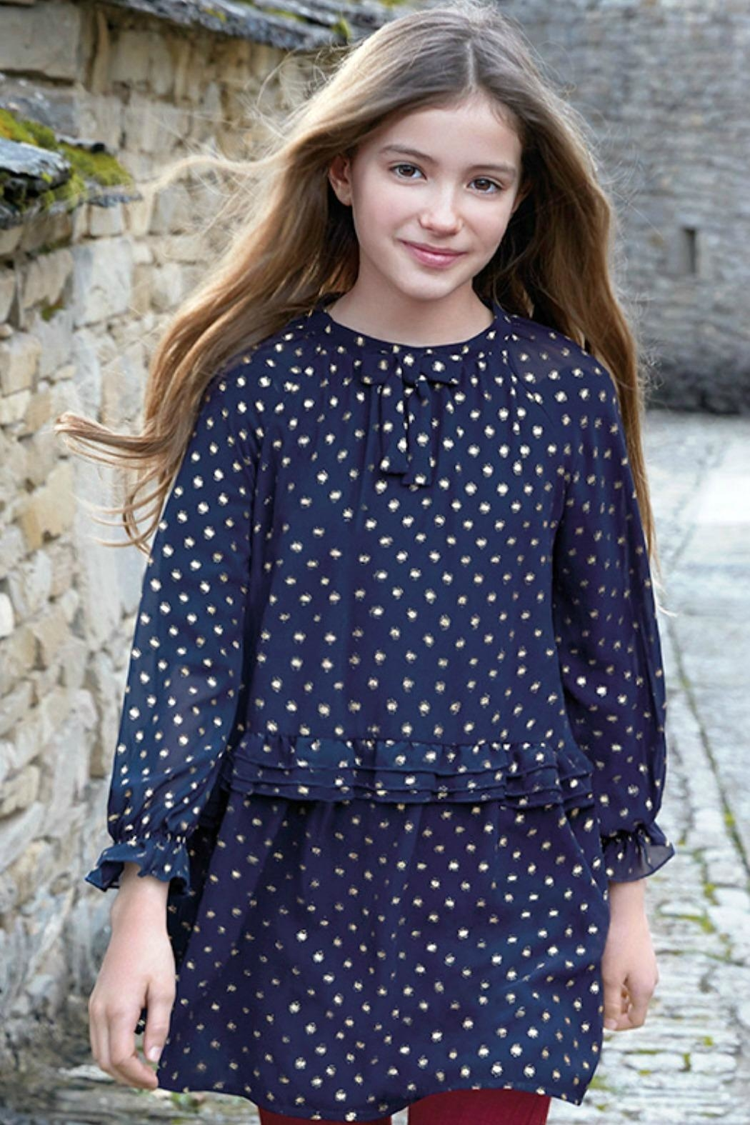 Mayoral Chiffon-Navy-Dress-With-Gold-Metallic-Dots - Side Cropped Image