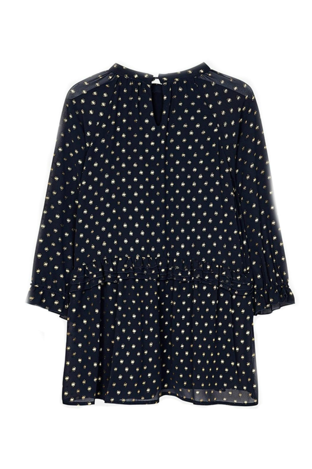 Mayoral Chiffon-Navy-Dress-With-Gold-Metallic-Dots - Back Cropped Image
