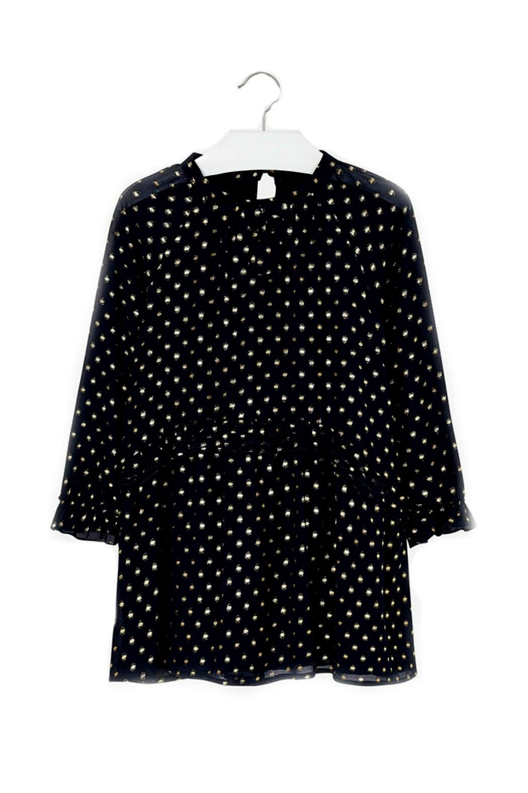 Mayoral Chiffon-Navy-Dress-With-Gold-Metallic-Dots - Front Cropped Image