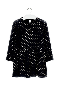 Shoptiques Product: Chiffon-Navy-Dress-With-Gold-Metallic-Dots