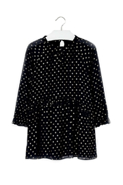 Mayoral Chiffon-Navy-Dress-With-Gold-Metallic-Dots - Front cropped