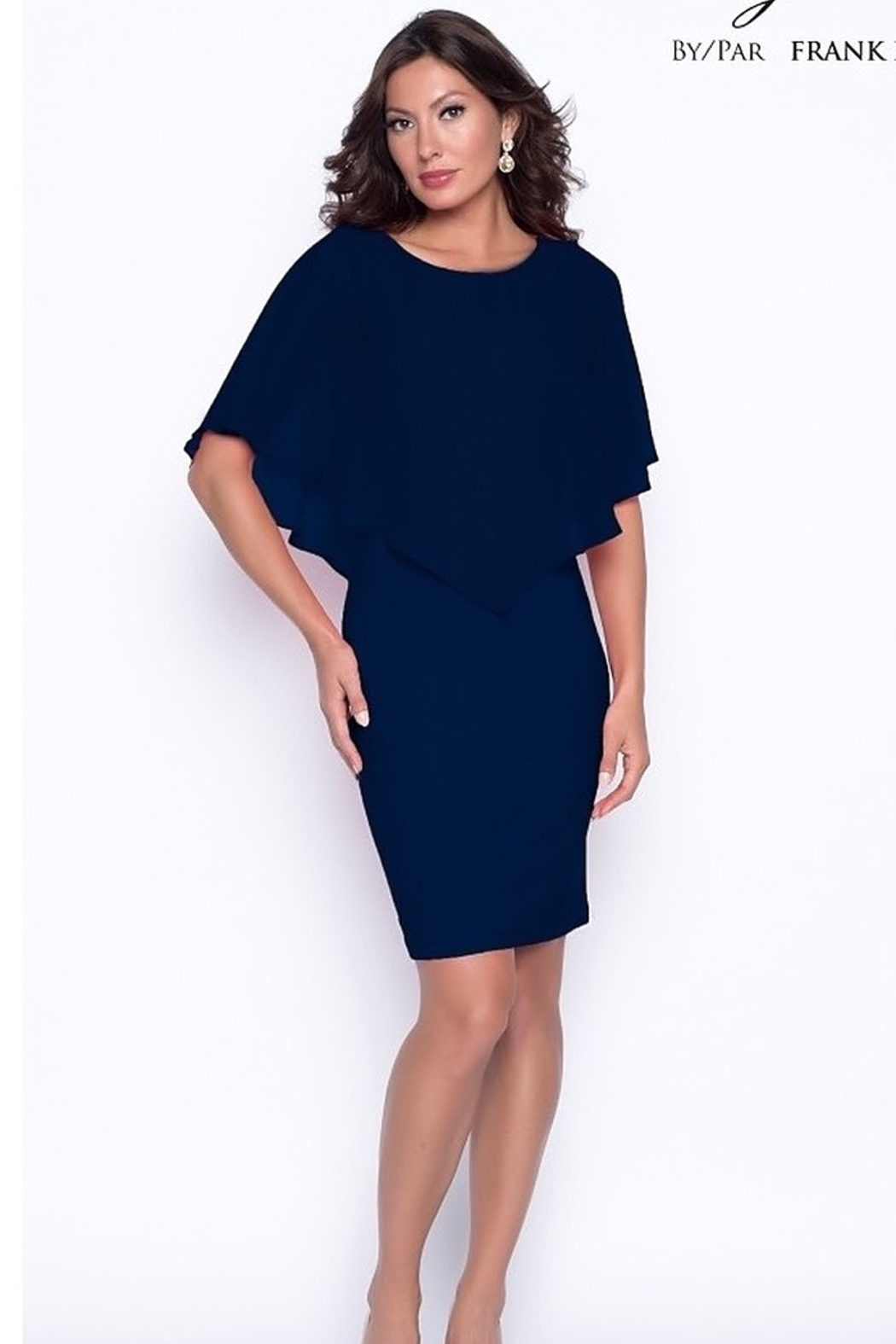 Frank Lyman Chiffon overlay cape dress - Main Image