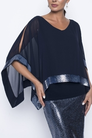 Frank Lyman Chiffon Overlay Midnight Blue Sequin Top - Product Mini Image