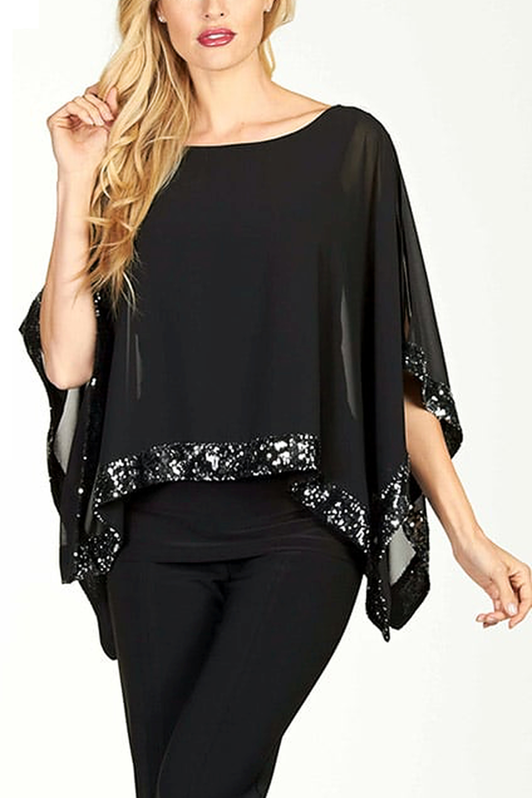 Frank Lyman Chiffon Overlay Sequin Top - Front Cropped Image