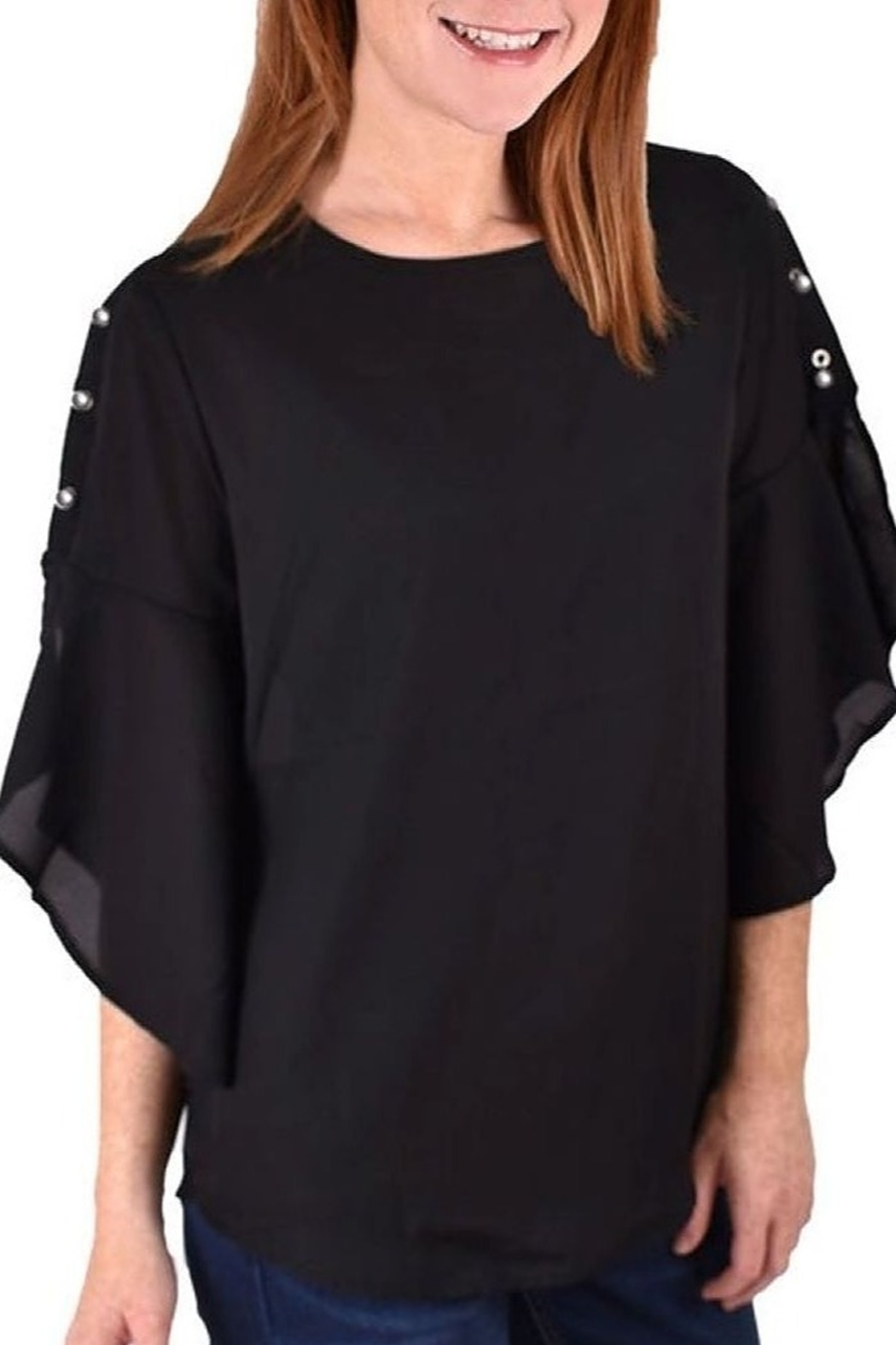 Ethyl Chiffon & Pearl Top - Front Cropped Image