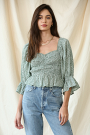 By Together Chiffon Smocked Top - Front cropped