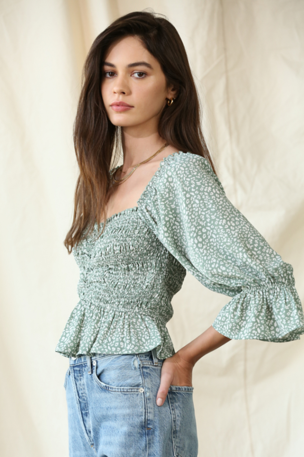 By Together Chiffon Smocked Top - Front Full Image