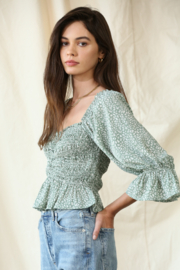 By Together Chiffon Smocked Top - Front full body