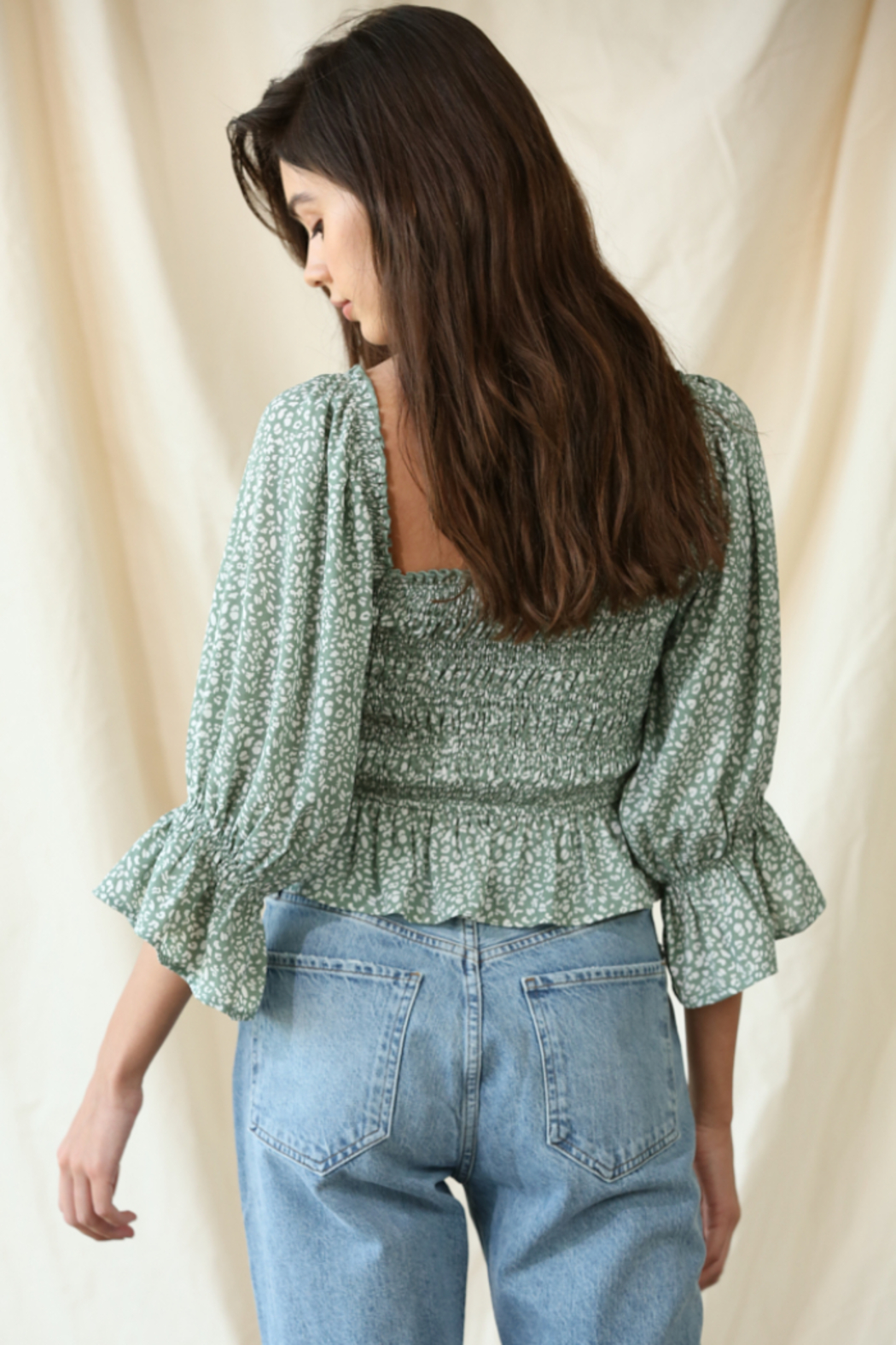 By Together Chiffon Smocked Top - Side Cropped Image