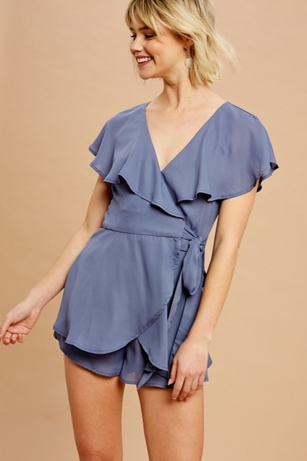 Listicle Chiffon Wrap Romper - Front Full Image