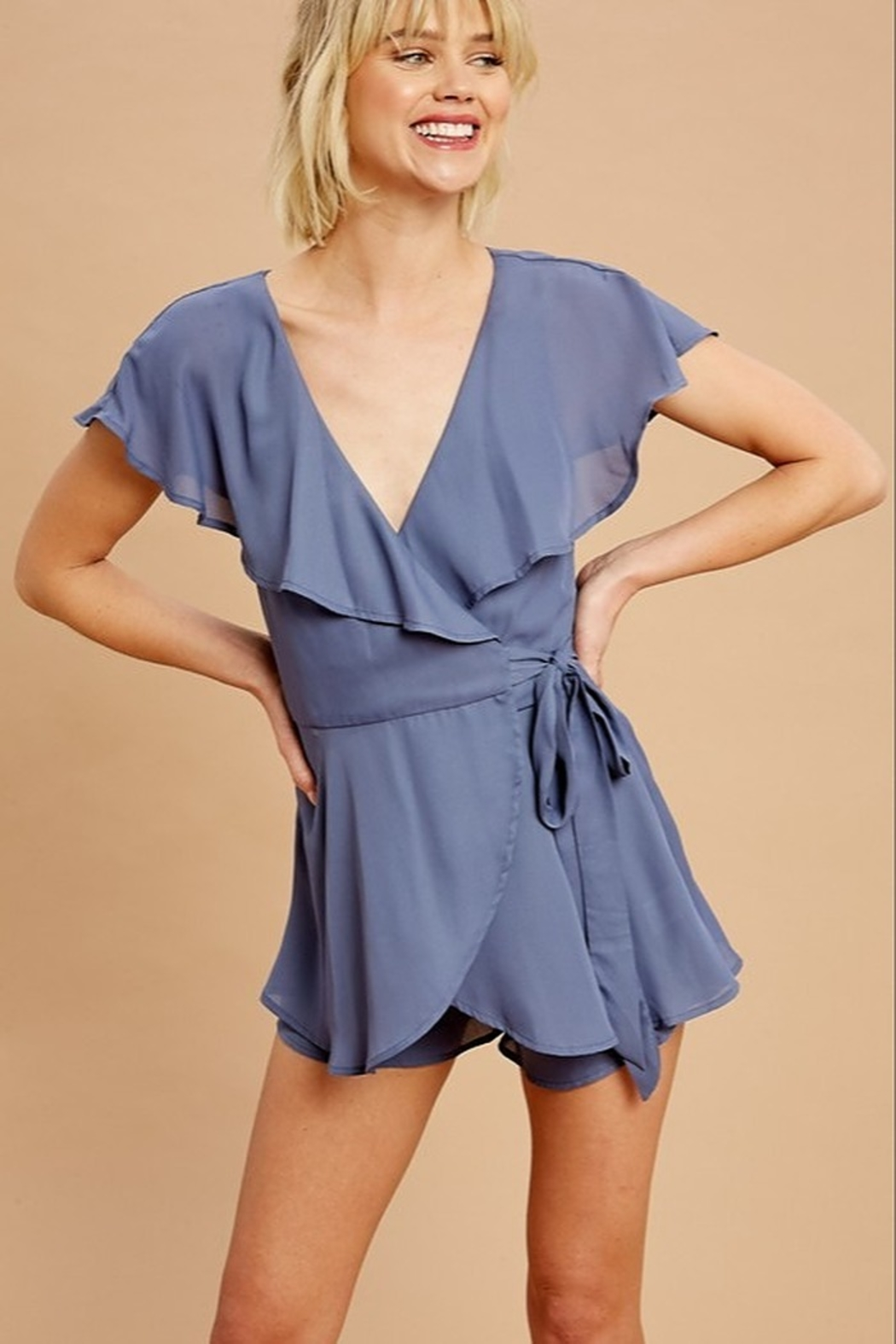 Listicle Chiffon Wrap Romper - Front Cropped Image