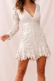 Chikas Beige Lace Dress - Front cropped