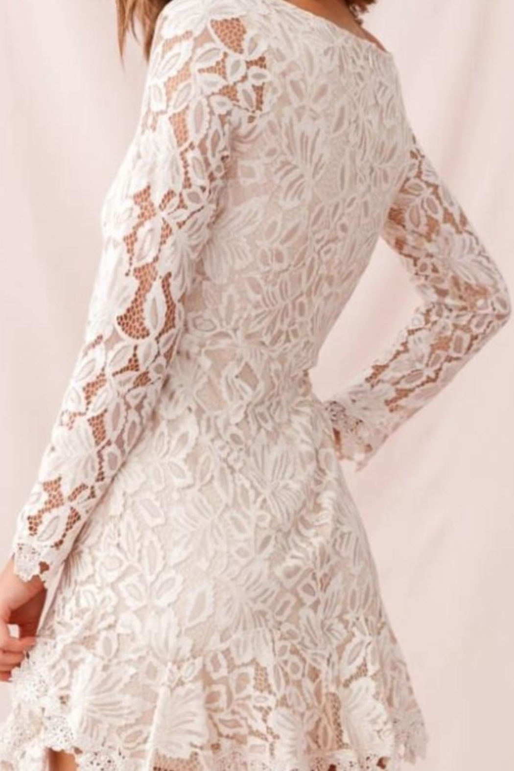 Chikas Beige Lace Dress - Front Full Image