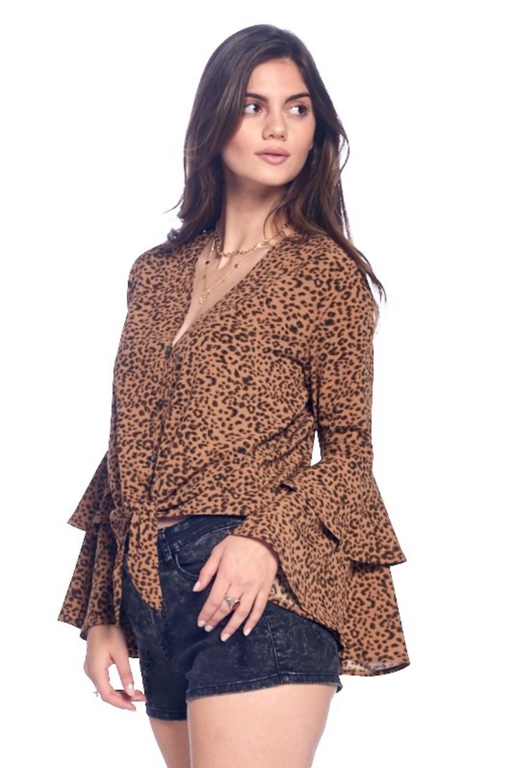 Chikas Bell-Sleeve Leopard Top - Front Full Image