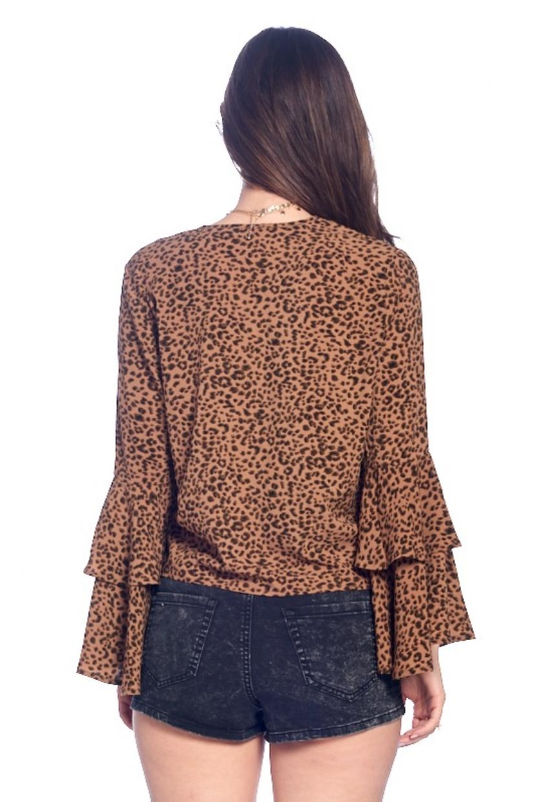 Chikas Bell-Sleeve Leopard Top - Side Cropped Image