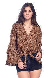 Chikas Bell-Sleeve Leopard Top - Front cropped
