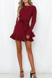 Chikas Burgundy Linen Dress - Product Mini Image