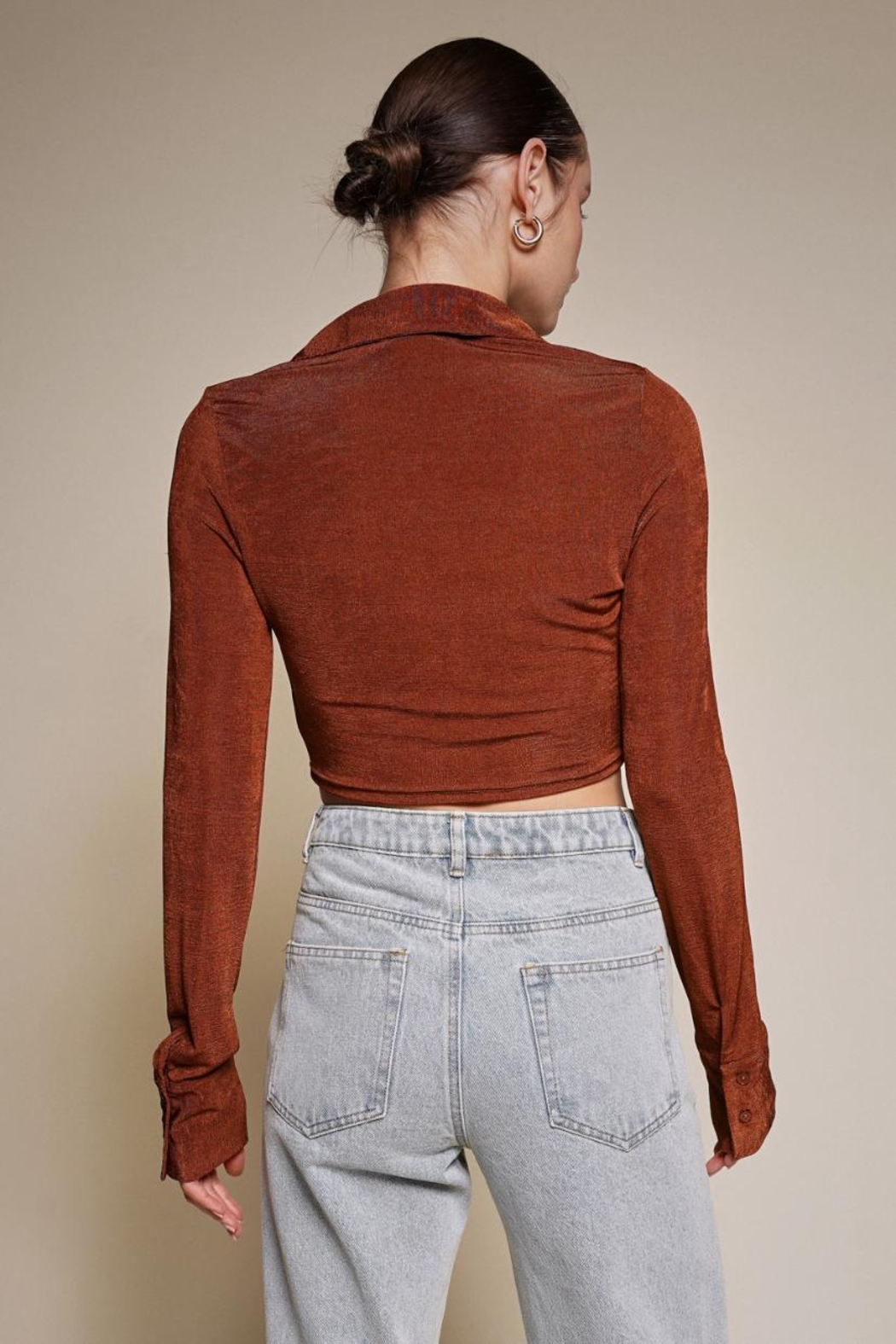 Chikas Button-Down Crop Top - Back Cropped Image