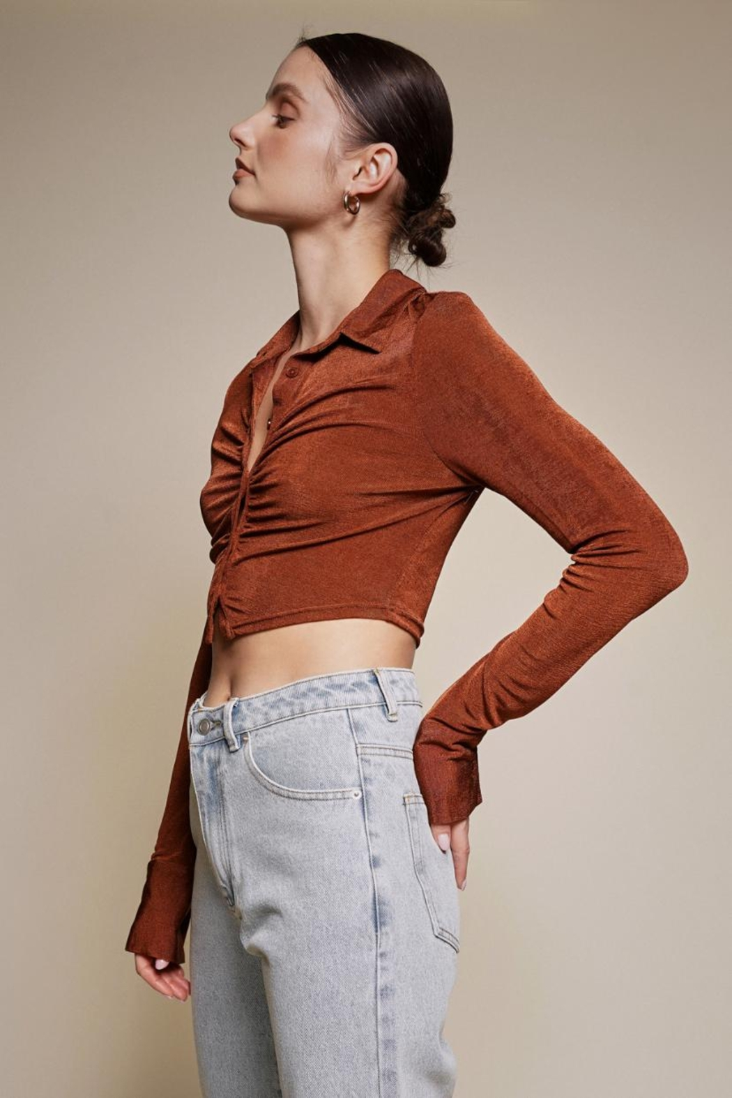 Chikas Button-Down Crop Top - Side Cropped Image