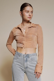 Chikas Button-Down Crop Top - Product Mini Image