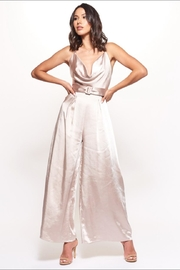Chikas Champagne Satin Jumpsuit - Front cropped