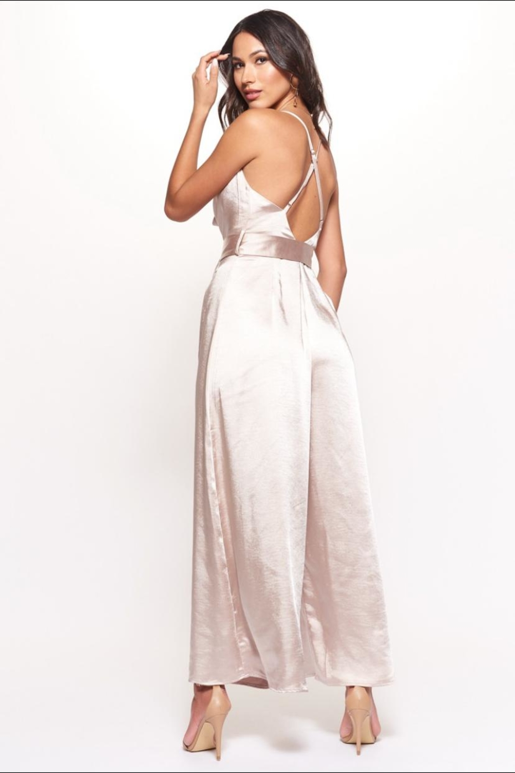 Chikas Champagne Satin Jumpsuit - Side Cropped Image