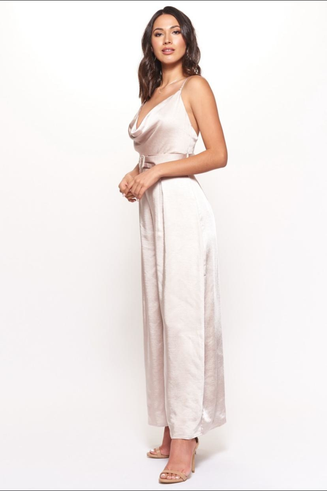 Chikas Champagne Satin Jumpsuit - Front Full Image