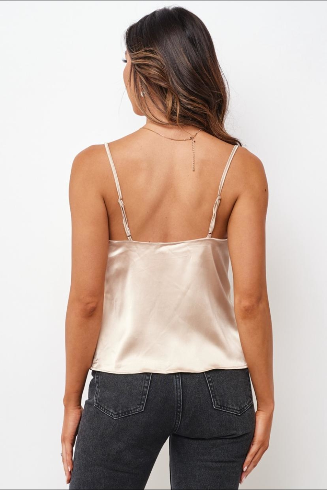 Chikas Champagne Satin Top - Side Cropped Image