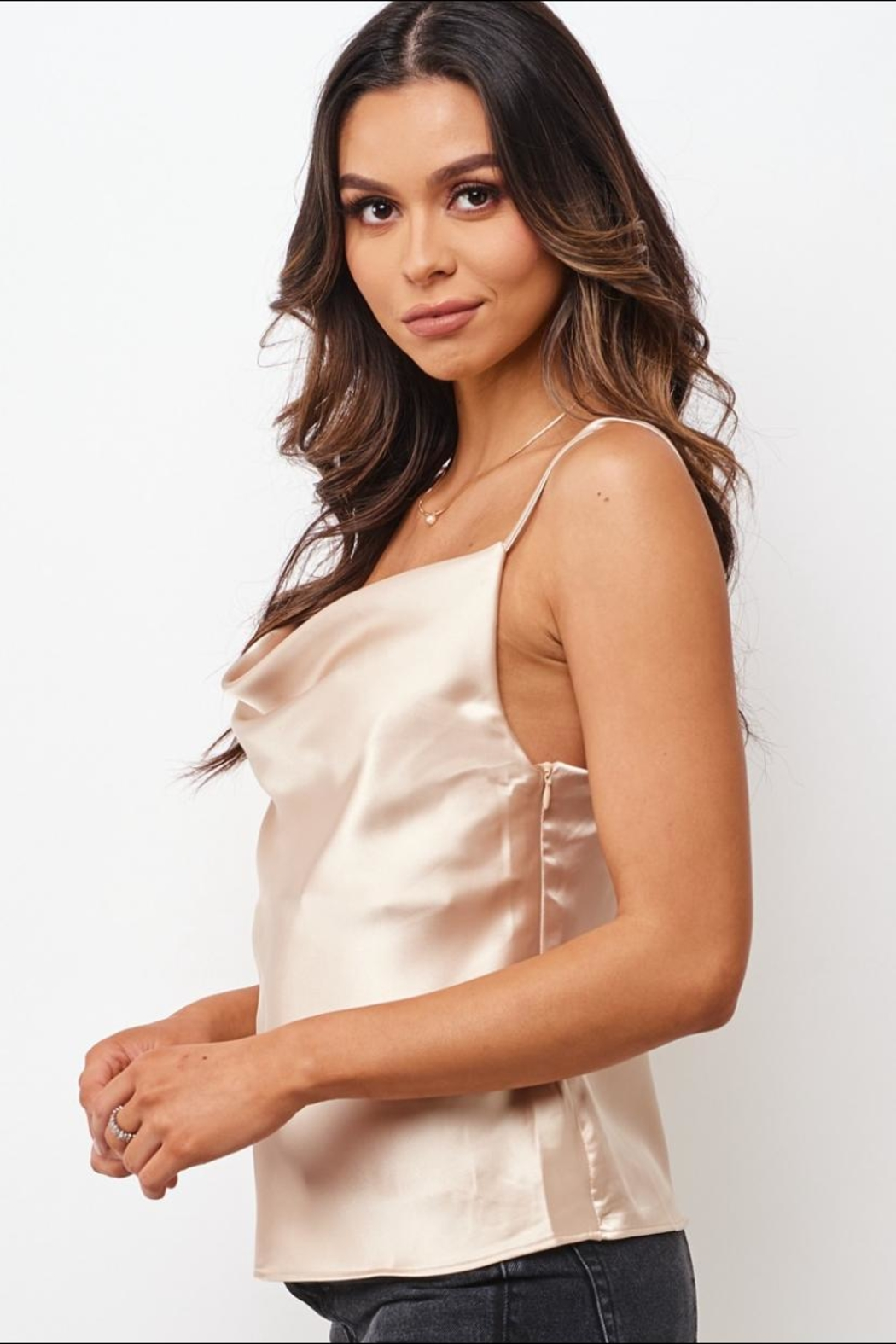 Chikas Champagne Satin Top - Front Full Image