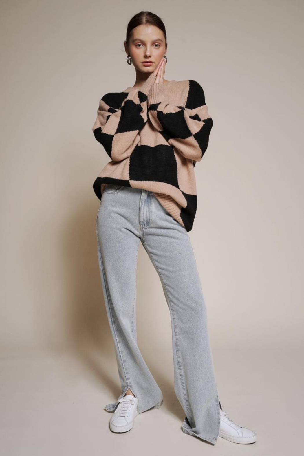 Chikas Checkered Sweater - Front Full Image