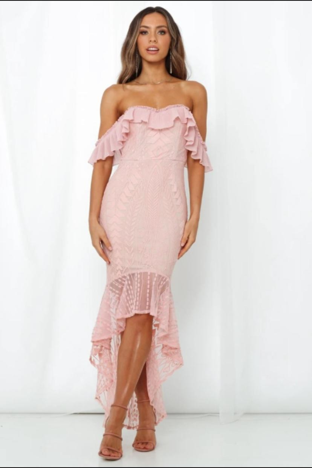 Chikas Cold-Shoulder High-Low Dress - Main Image