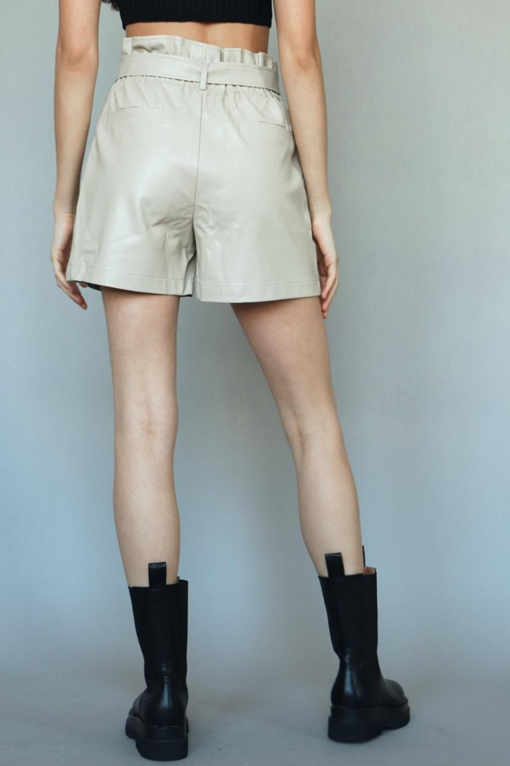 Chikas Faux-Leather High-Waisted Shorts - Back Cropped Image