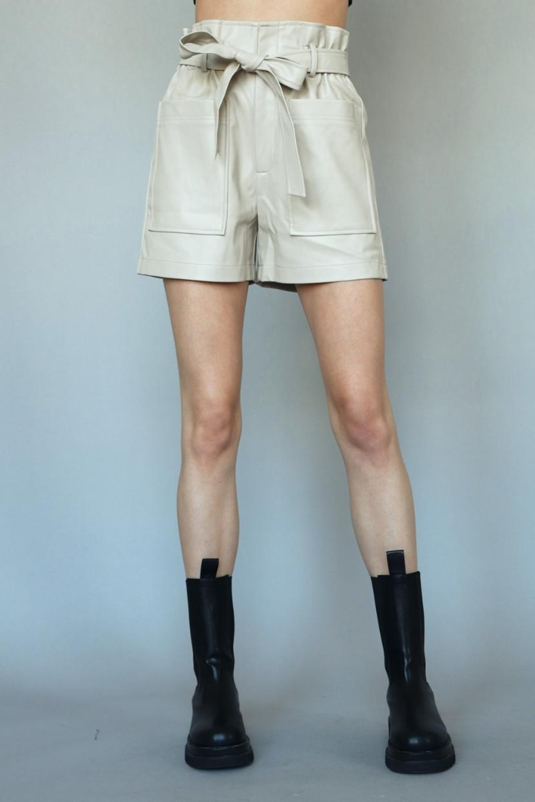 Chikas Faux-Leather High-Waisted Shorts - Front Full Image