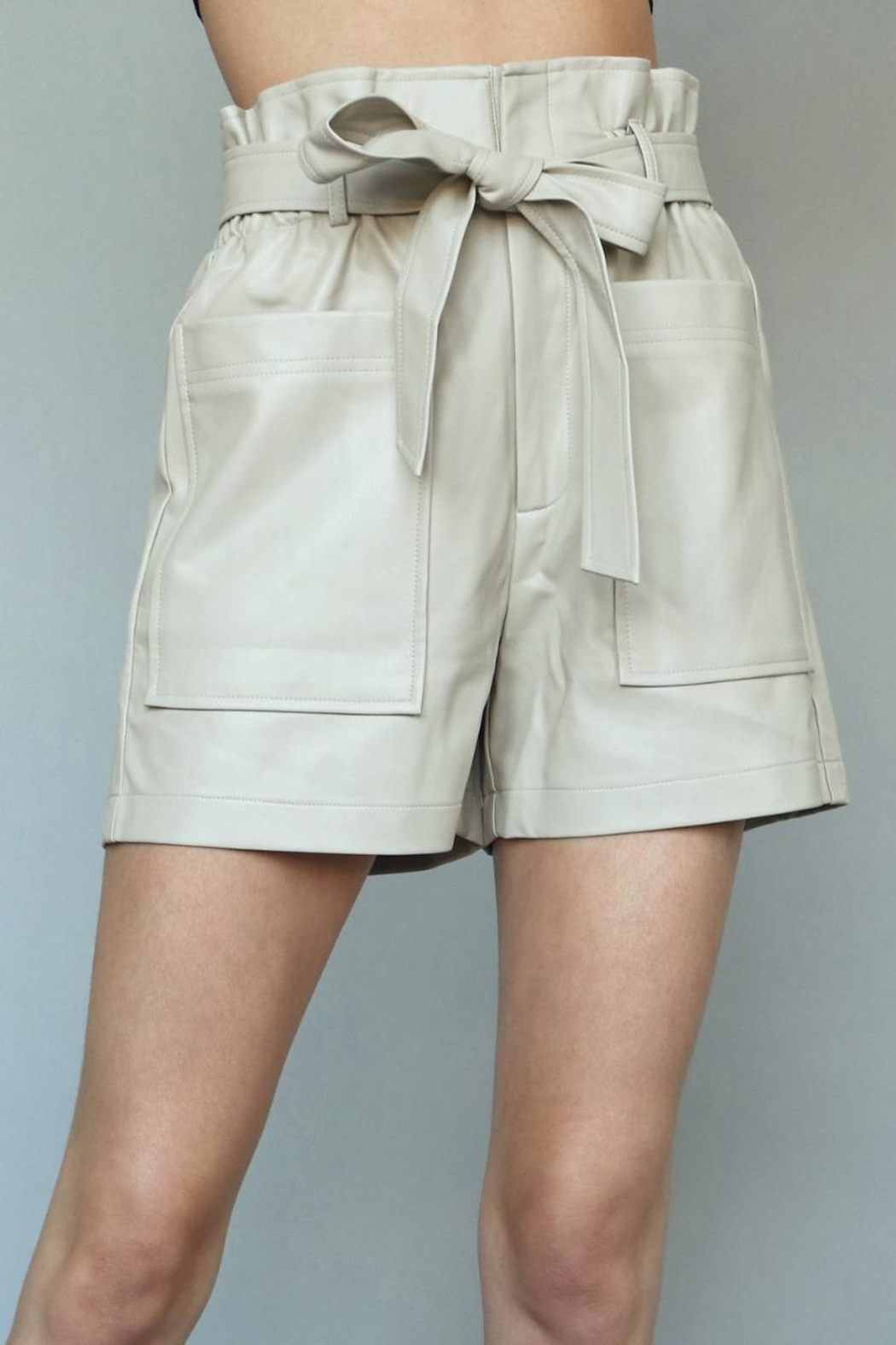 Chikas Faux-Leather High-Waisted Shorts - Side Cropped Image