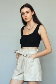 Chikas Faux-Leather High-Waisted Shorts - Front cropped