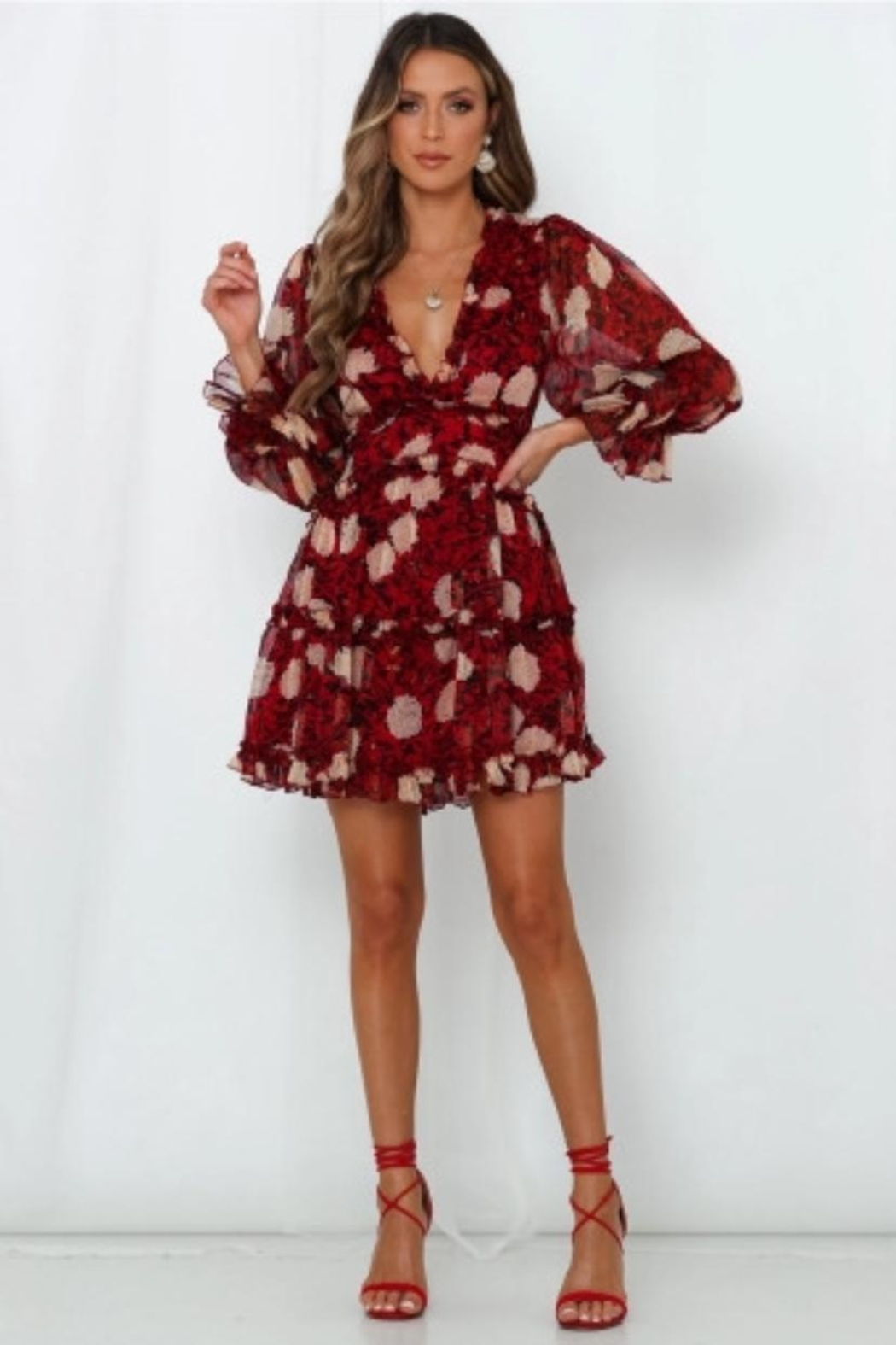 Chikas Floral Dress - Front Cropped Image