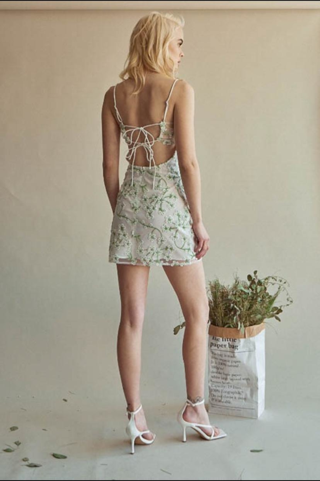 Chikas Floral Embroidered Dress - Side Cropped Image