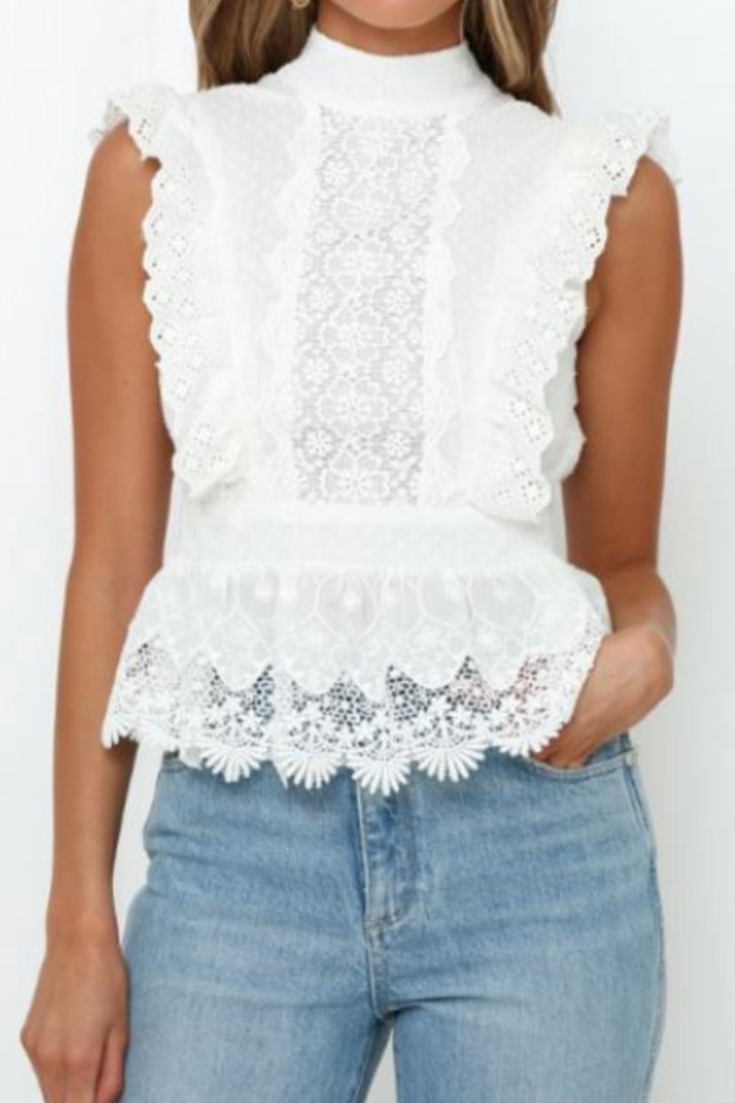 Chikas Floral Lace Top - Main Image