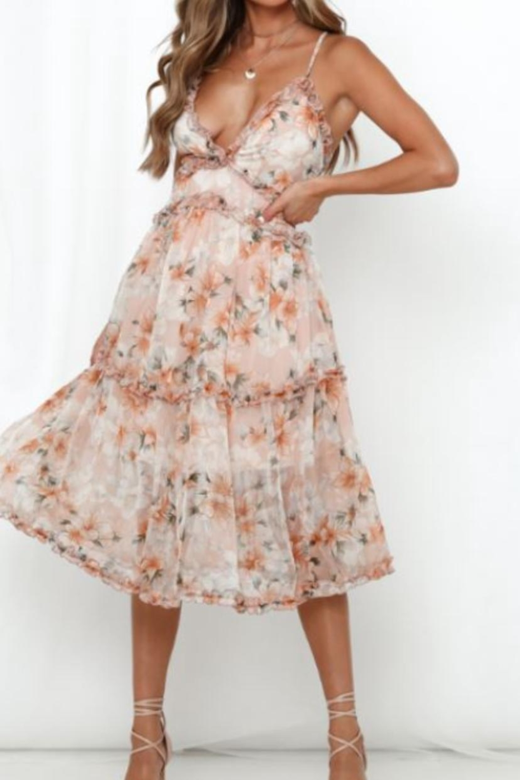 Chikas Floral Midi Dress - Main Image