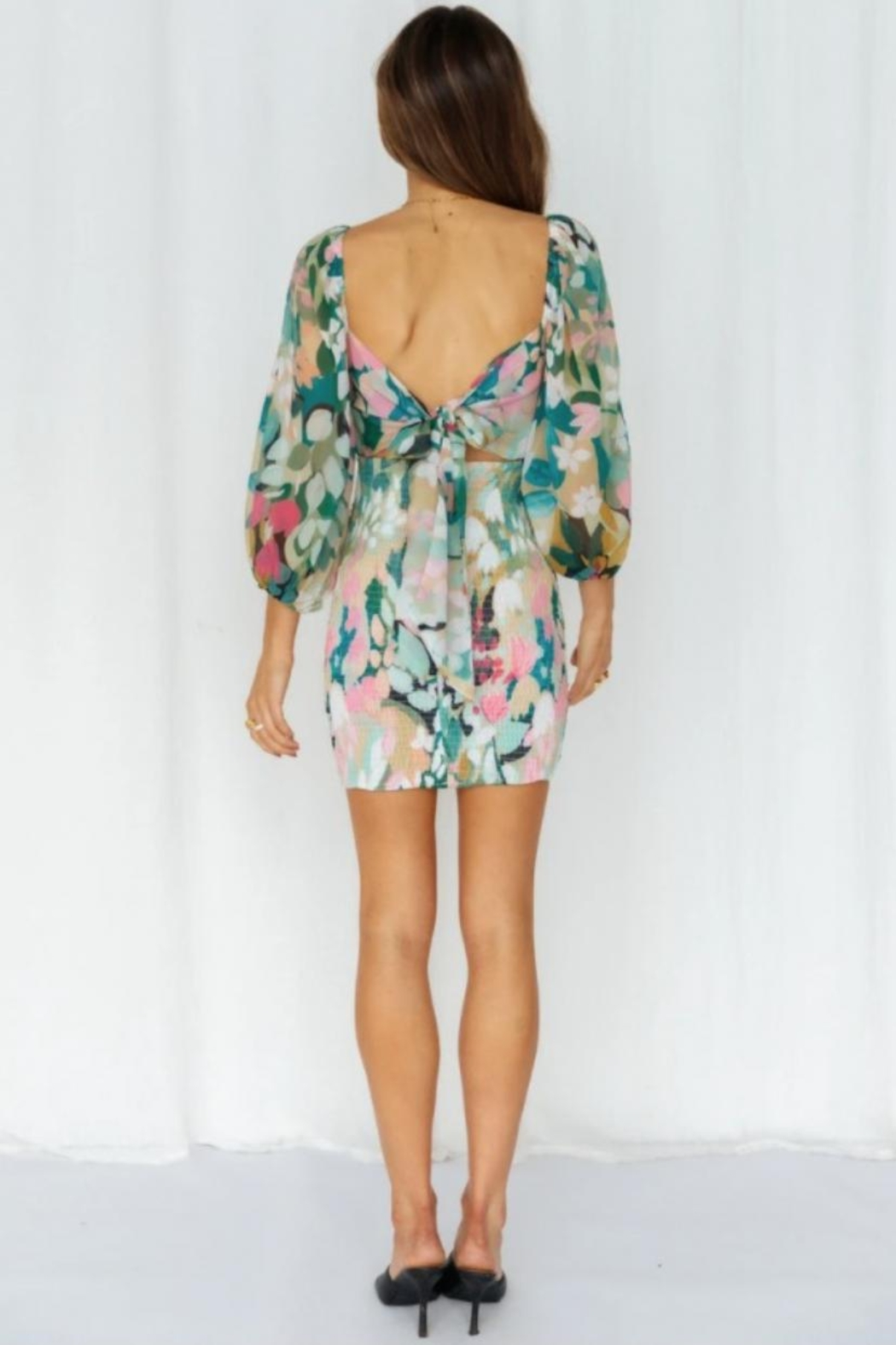 Chikas Floral Mini Dress - Side Cropped Image