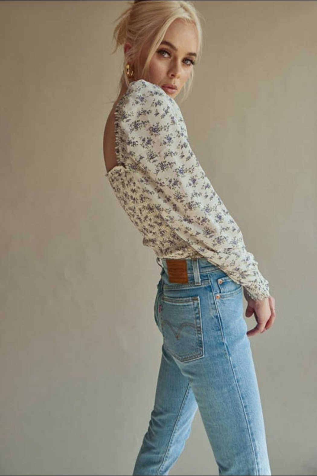 Chikas Floral Smocked Top - Side Cropped Image