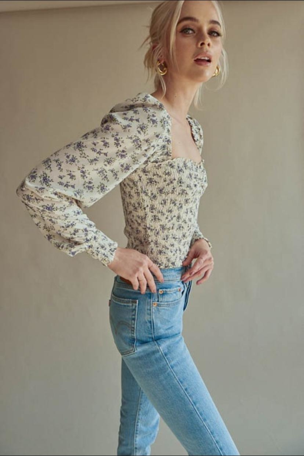 Chikas Floral Smocked Top - Front Full Image