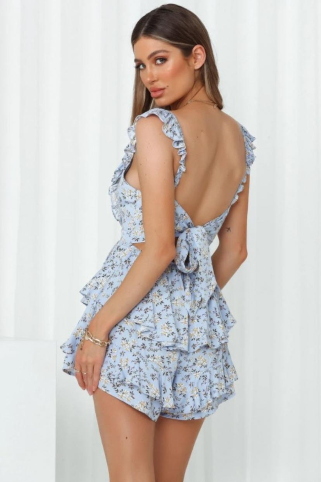 Chikas Floral Tiered Romper - Front Full Image