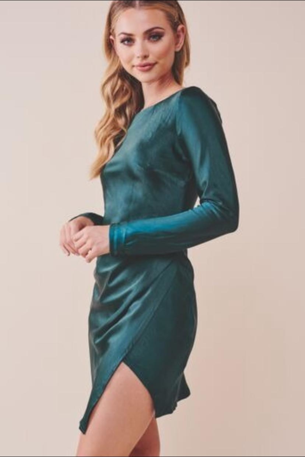 Chikas Forest Green Dress - Side Cropped Image