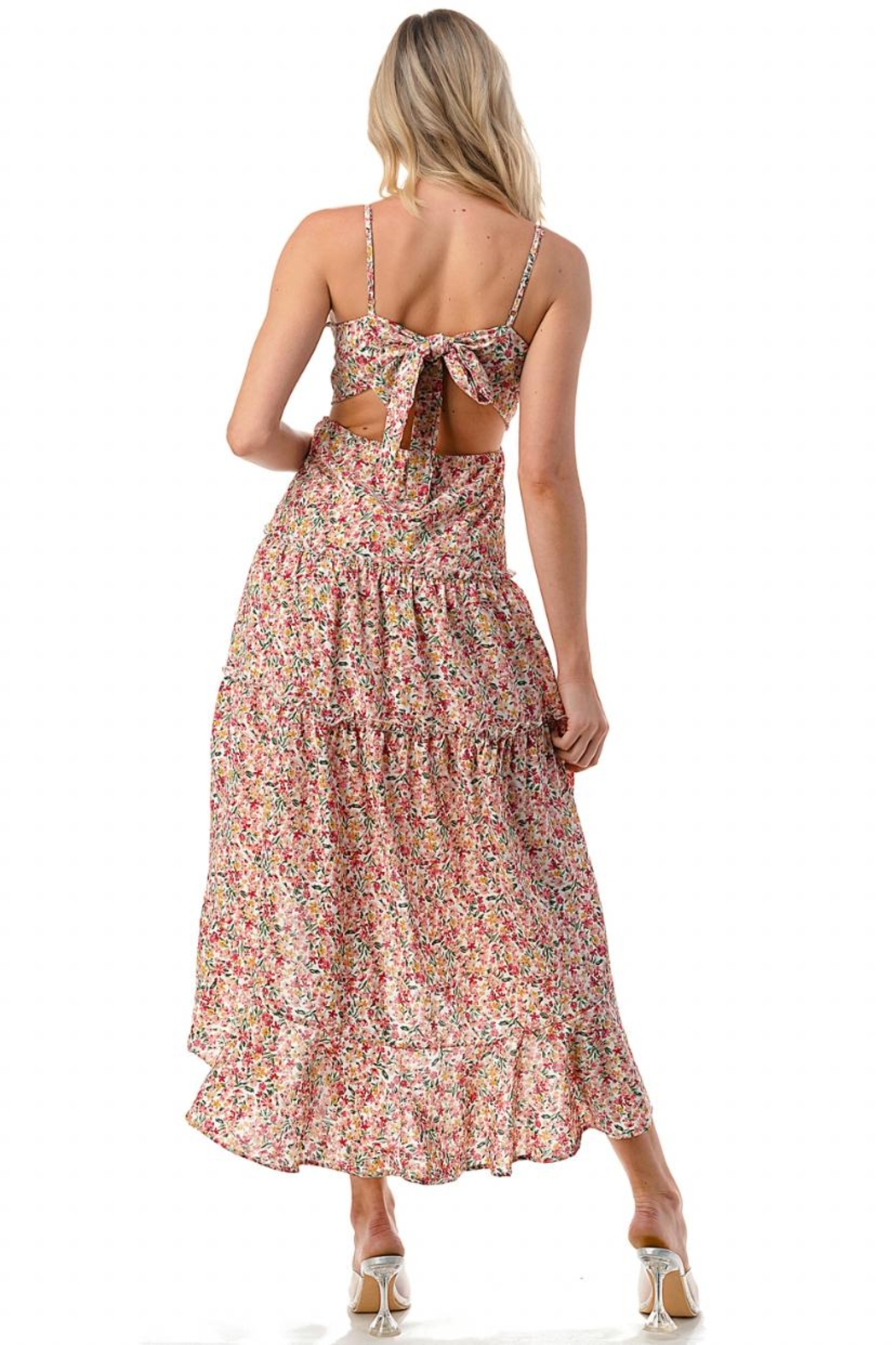 Chikas High-Low Floral Dress - Back Cropped Image